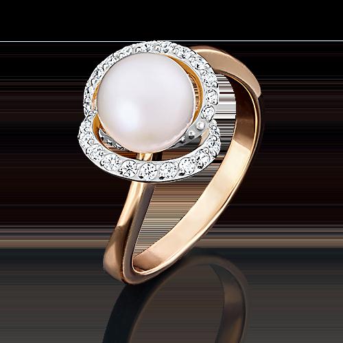 Кольцо из красного золота с жемчугом культивированным и фианитом 01-4391-00-302-1110-23