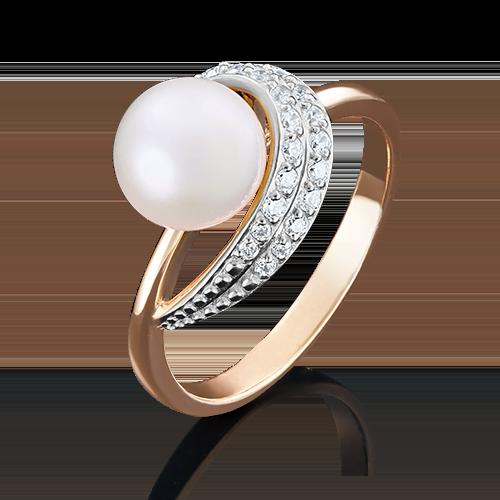 Кольцо из красного золота с жемчугом культивированным и фианитом 01-4393-00-302-1110-23