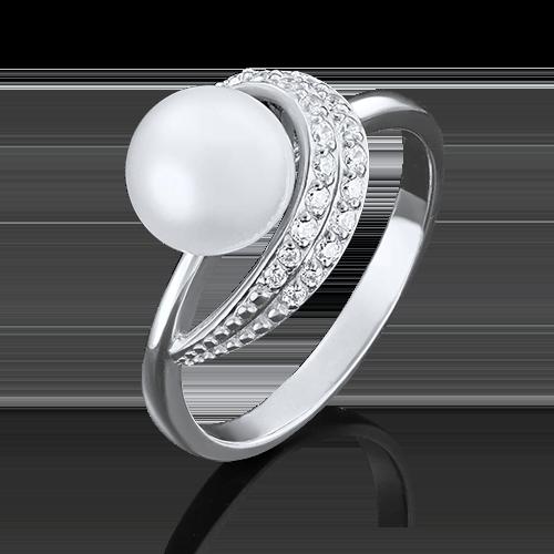 Кольцо из белого золота с жемчугом культивированным и фианитом 01-4394-00-302-1120-23