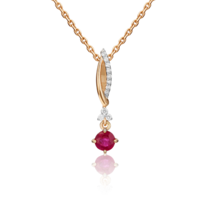 Подвеска из красного золота с рубином и бриллиантом 03-0538-00-107-1110-30