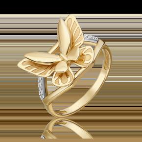 Кольцо из лимонного золота с бриллиантом 01-5496-00-101-1121