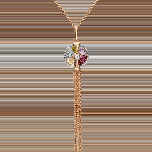 Подвеска из красного золота с хризолитом, гранатом, цитрином, топазом и аметистом 03-3124-00-252-1110-57