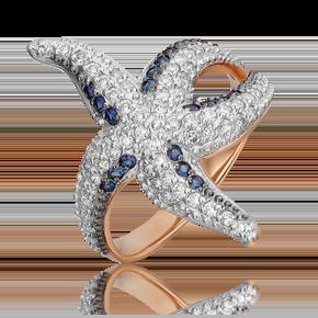 Кольцо из красного золота с бриллиантом и сапфиром 01-5549-00-105-1110-30