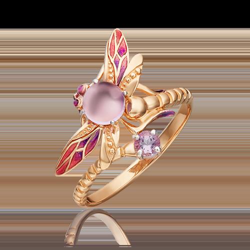 Кольцо из красного золота с аметистом и эмалью 01-5458-00-203-1110-57