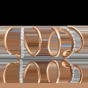 Серьги-продевки из красного золота с фианитом 02-4481-00-401-1110-23