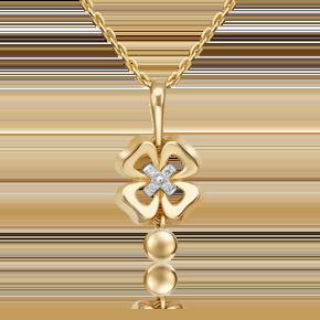 Подвеска из лимонного золота с бриллиантом 03-3280-00-101-1121