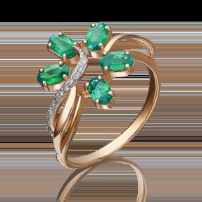 Кольцо из красного золота с изумрудом и бриллиантом 01-1372-00-106-1110-30