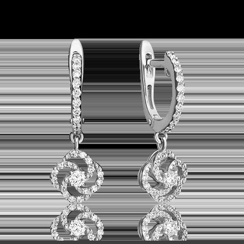 Серьги с английским замком из белого золота с бриллиантом 02-0835-00-101-1120-30