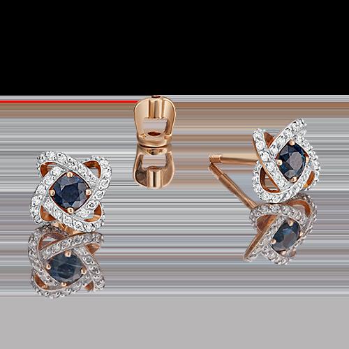 Серьги-пусеты из красного золота с сапфиром и бриллиантом 02-0838-00-105-1110-30