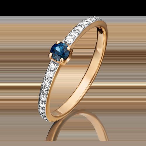 Кольцо из красного золота с сапфиром и бриллиантом 01-0638-00-105-1110-30