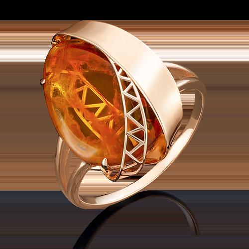 Кольцо из красного золота янтарём 01-4920-00-271-1110-46