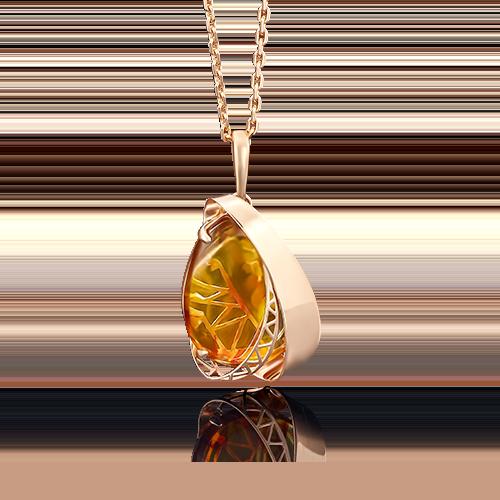 Подвеска из красного золота с янтарём 03-2591-00-271-1110-46