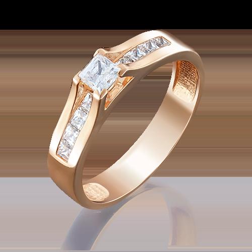 Кольцо из красного золота фианитом огр.SW 01-4943-00-501-1110-38