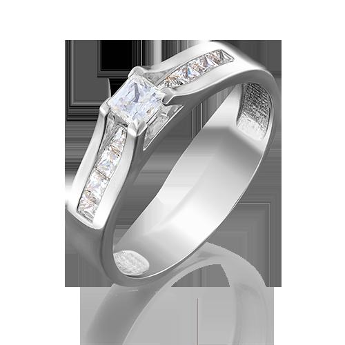 Кольцо из белого золота фианитом огр.SW 01-4943-00-501-1120-38