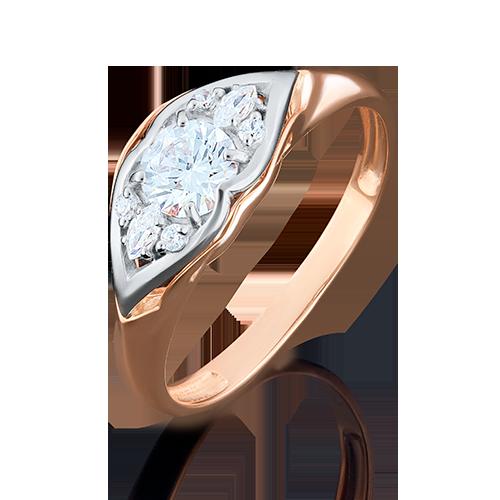 Кольцо из комбинированного золота с фианитом огр.SW 01-4944-00-501-1111-38