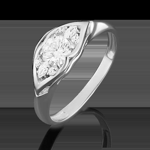 Кольцо из белого золота фианитом огр.SW 01-4944-00-501-1120-38