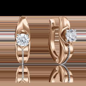 Серьги с английским замком из комбинированного золота с бриллиантом 02-4283-00-101-1111-30