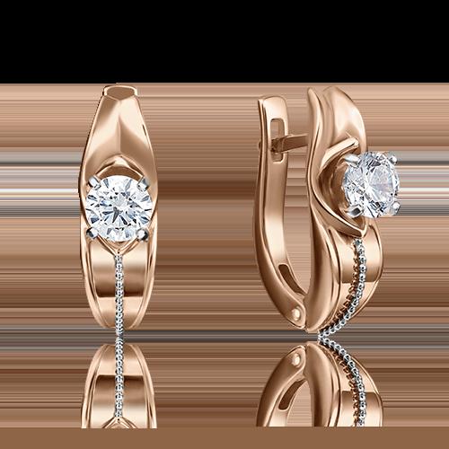 Серьги с английским замком из комбинированного золота бриллиантом 02-4283-00-101-1111-30