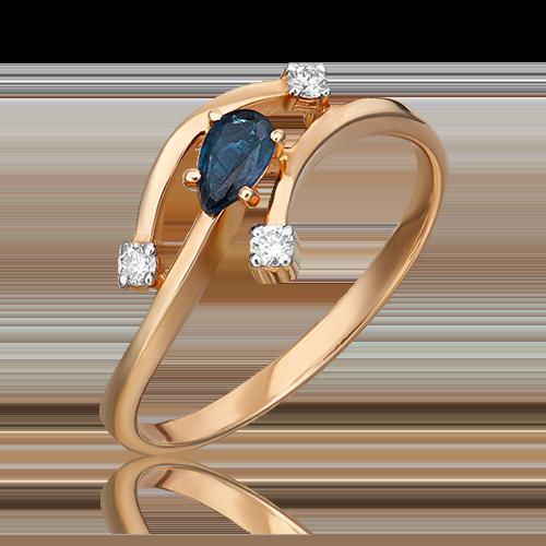 Кольцо из красного золота с сапфиром и бриллиантом 01-0767-00-105-1110-30