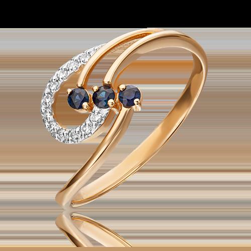 Кольцо из красного золота с сапфиром и бриллиантом 01-0773-00-105-1110-30