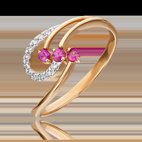 Кольцо из красного золота с рубином и бриллиантом 01-0773-00-107-1110-30