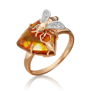 Кольцо из красного золота с янтарём и топазом white 01-5456-00-733-1110-57