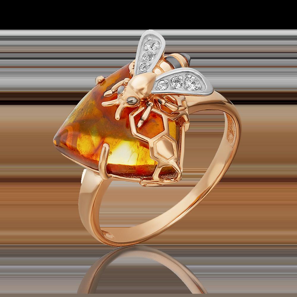 Кольцо из красного золота с янтарём и топазом 01-5456-00-733-1110-57