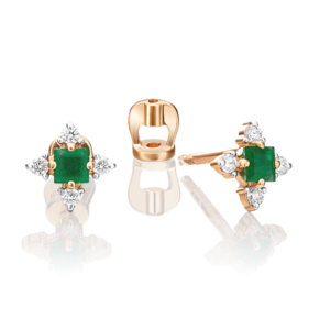 Серьги-пусеты из красного золота с изумрудом и бриллиантом 02-0876-00-106-1110-30