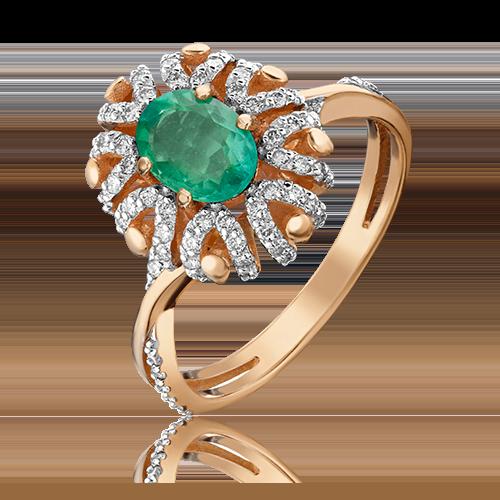 Кольцо из красного золота с изумрудом и бриллиантом 01-1433-00-106-1110-30