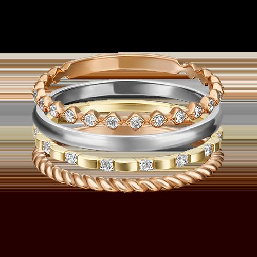 Наборное кольцо из комбинированного золота с фианитом 13-0006-00-401-1140-48
