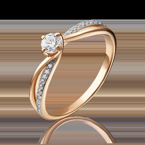 Помолвочное кольцо из красного золота с фианитом огр.SW 01-4754-00-501-1110-38