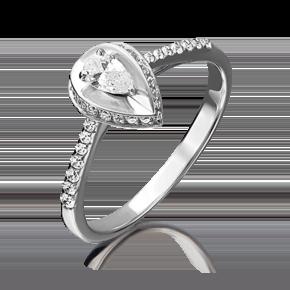 Помолвочное кольцо из белого золота с фианитом огр.SW 01-4756-00-501-1120-38