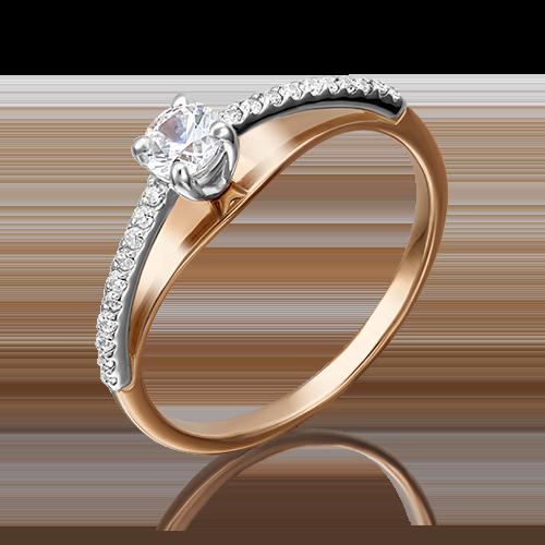 Помолвочное кольцо из комбинированного золота фианитом огр.SW 01-4715-00-501-1111-38