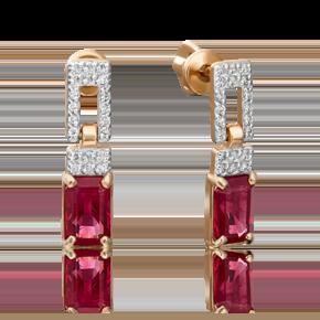 Серьги-пусеты из красного золота с рубином и бриллиантом 02-0914-00-107-1110-30