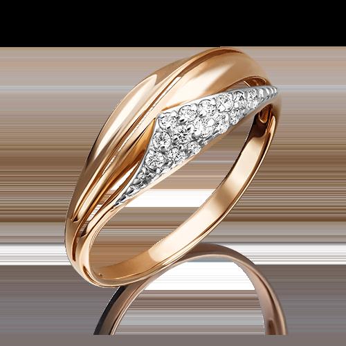 Кольцо из красного золота фианитом 01-4499-00-401-1110-03