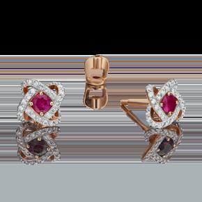 Серьги-пусеты из красного золота с рубином и бриллиантом 02-0838-00-107-1110-30