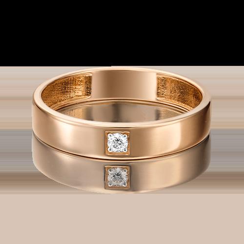 Обручальное кольцо из красного золота с бриллиантом 01-1539-00-101-1110-30