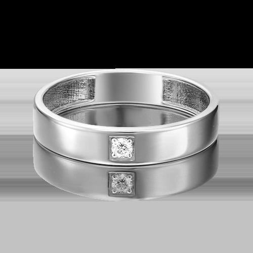 Обручальное кольцо из белого золота с бриллиантом 01-1539-00-101-1120-30