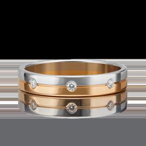 Обручальное кольцо из комбинированного золота с бриллиантом 01-1541-00-101-1111-30