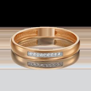 Обручальное кольцо из красного золота с бриллиантом 01-1542-00-101-1110-30
