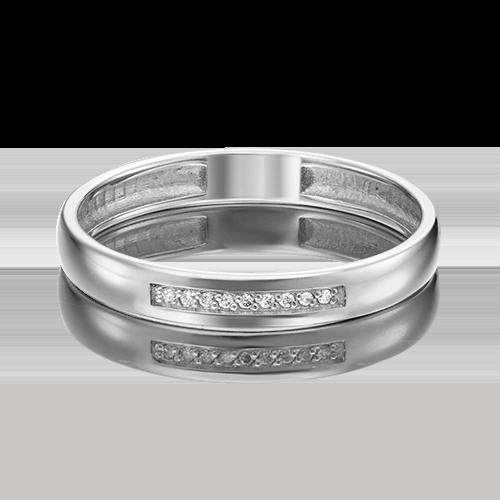 Обручальное кольцо из белого золота с бриллиантом 01-1542-00-101-1120-30