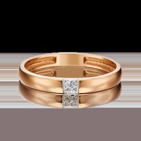 Обручальное кольцо из красного золота с бриллиантом 01-1543-00-101-1110-30