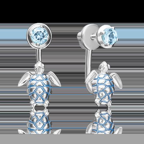 Серьги-пусеты из серебра с топазом и эмалью 02-4669-00-201-0200-68