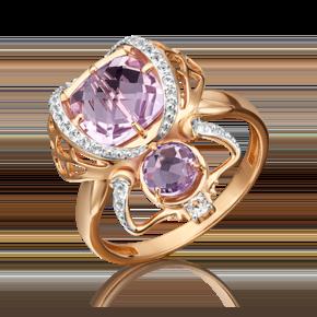 Кольцо из красного золота с аметистом и топазом white 01-5409-00-225-1110-57