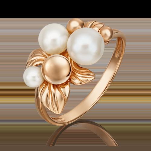 Кольцо из красного золота с жемчугом культивированным 01-5428-00-301-1110-31