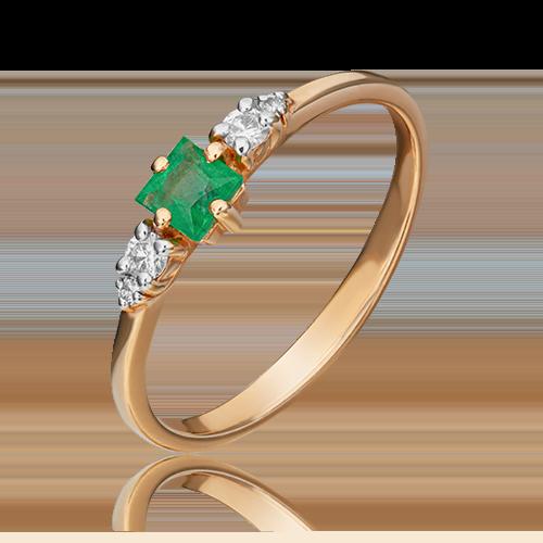 Кольцо из красного золота с изумрудом и бриллиантом 01-1507-00-106-1110-30