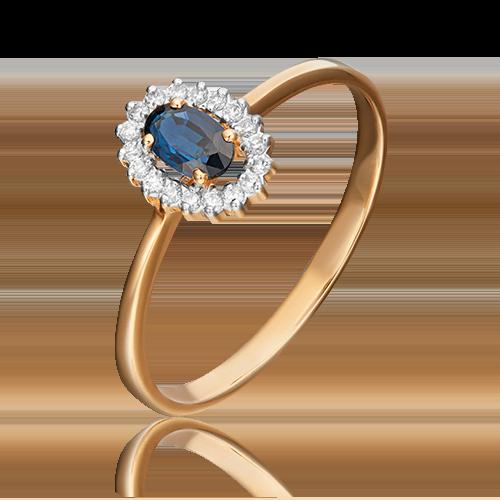 Кольцо из красного золота с сапфиром и бриллиантом 01-1509-00-105-1110-30