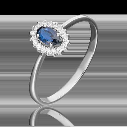 Кольцо из белого золота с сапфиром и бриллиантом 01-1509-00-105-1120-30