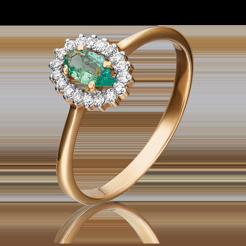 Кольцо из красного золота с изумрудом и бриллиантом 01-1509-00-106-1110-30