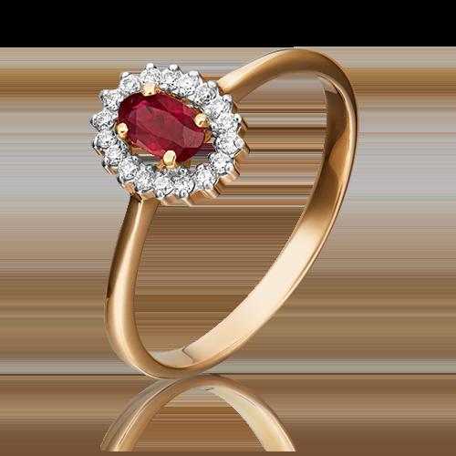 Кольцо из красного золота с рубином и бриллиантом 01-1509-00-107-1110-30